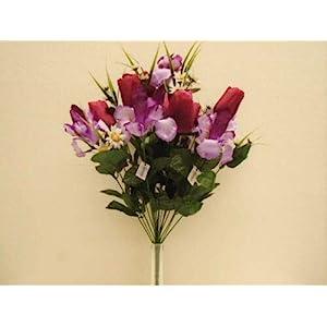 "Silk Flower Arrangements 22"" Bouquet Beauty Purple Mix Tulip Iris Bush Artificial Silk Flowers LivePlant"