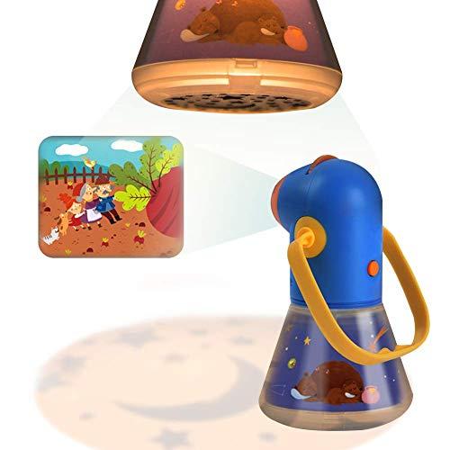 Proyector de cuentos infantiles con lente de zoom Lámpara de luces nocturnas para los niños Dormitorio durmiendo con asa, apagado automático y películas de cuentos