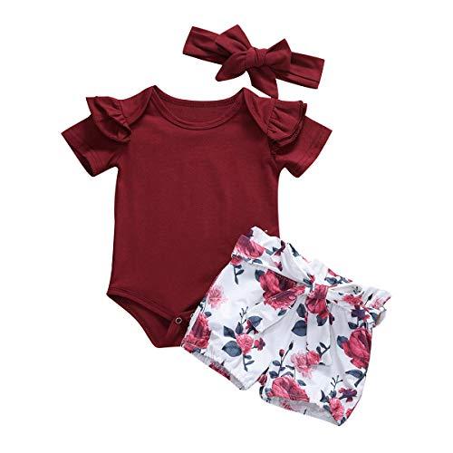 Geagodelia Babykleidung Set Baby Mädchen Kleidung Outfit Body Strampler + Shorts Neugeborene Kleinkinder Weiche Strand Babyset Sommer T-28221 (0-3 Monate, Weinrot 538)