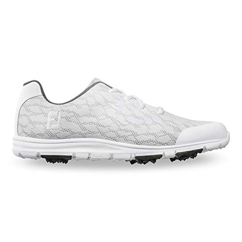 FootJoy Women's Enjoy Golf Shoes, White/Grey, 7.5 M US