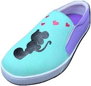 FUNKY N TRENDY Mickey Minnie Purple Mint Handpainted Waterproof Canvas Casual Shoes