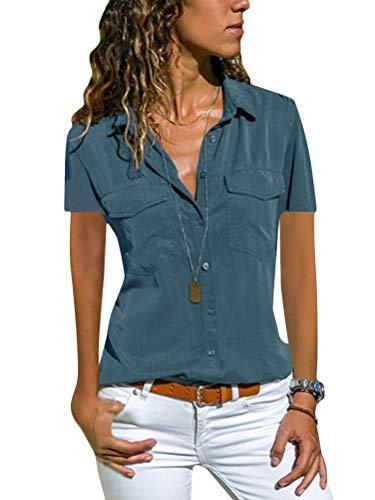Minetom Damen Basic Blusen Taillierte Kurzarm Damenbluse V-Ausschnitt Shirt Hemd Casual Bluse Einfarbig Oberteil Hemdbluse Shirtbluse Ärmellose Tank Top Weste B Blau 42
