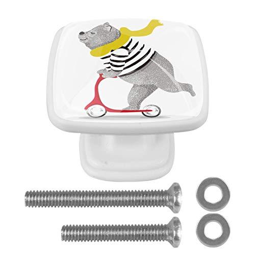 Perillas y manijas del gabinete Scooter de oso Perillas de gabinetes de cocina Bling Dresser Drawer Knobs for Girls Set de 4 3x2.1x2 cm