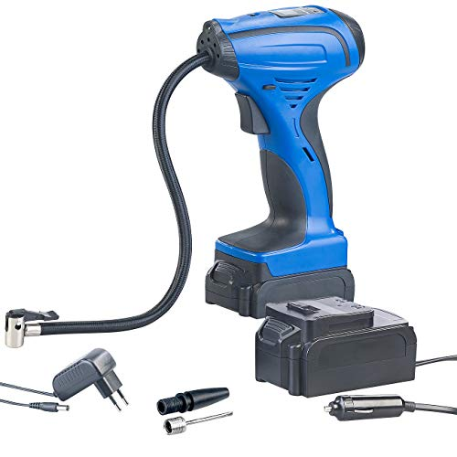 AGT Velopumpe: Akku-Kompressor-Luftpumpe für Reifen, Bälle u.v.m, LCD, bis 116 psi (Auto Luftpumpe)