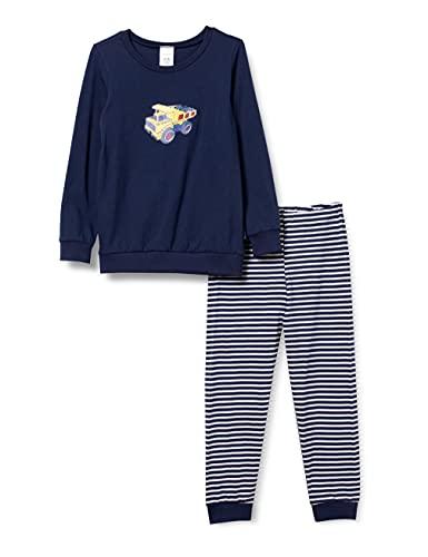 Schiesser Kinder Jungen langer Schlafanzug- Organic Cotton, Blau, 128