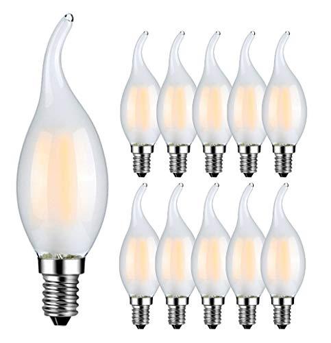 RANBOO E14 Kerze LED Lampe 4W ersetzt 40 Watt 400 Lumen Warmweiß 2700K C35 Leuchtmittel Filament Fadenlampe für Kronleuchter E14 Glühfaden Retrofit Classic Nicht Dimmbar Matt Glas 10er-Pack