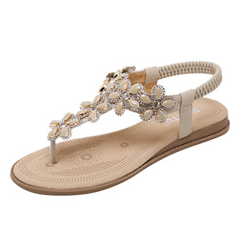 Sandalias de Vestir Mujer,LANSKIRT Zapatos Mujeres Verano 2019 Chanclas Bohemias Sandalias Romanas Planas y Confortables Zapatillas casa Pantuflas Calzado