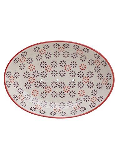 Tranquillo Seifenschale Retro, oval aus handbemalter Keramik mit Löchern für den Wasserablauf 14 x 9,5 x 2 cm