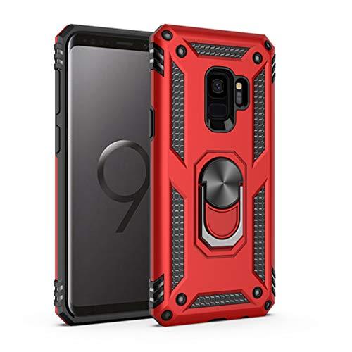 Kompatibel mit Samsung Galaxy S9 Hülle,Premium Handyhülle mit Ring Fingerhalterung 360 Grad Drehbarer Ständer Anti-Scratch Dual Layer Bumper Stoßfest Schutzhülle für Samsung Galaxy S9 (Rot)