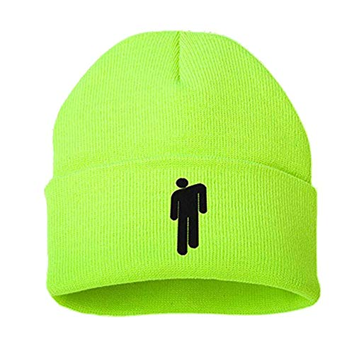 Gorro Billie Eilish, Gorro de Algodón, Gorros de Punto, Gorro de Invierno de Punto, Gorro de Hip Hop, Gorro Unisex Sombreros y Gorras Casual para Hombres, Mujeres (Verde)