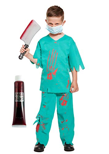 Salveo Bloody Doctor mannaia + + Sangue Finto Kids Halloween Fancy Dress Bundle