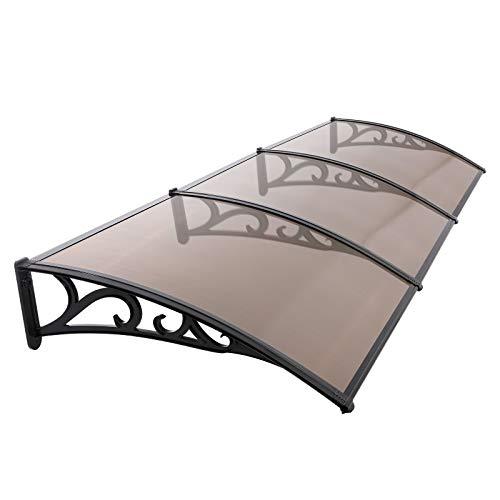 MVPower Marquesina para Puertas Ventanas, Tejadillo de Protección Protección Solar, Toldo Cubierta de Policarbonato para Jardín, Aire Libre Dosel de Techo Transparente(Marrón Oscuro, 270 * 98.5cm)