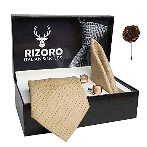 Rizoro Mens Plaid Dotted Silk Necktie Gift Set With Pocket Square Cufflinks & Brooch Pin Formal Tie With Leatherite Box (D1RX Free Size)