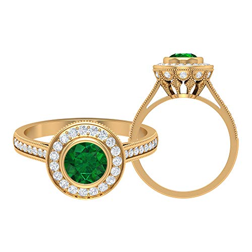Vintage Halo Ring, 1,28 CT D-VSSI Moissanit, 6 mm Smaragd diffus Edelstein Ring, Einzigartige Braut Gold Schmuck Kollektion, Hochzeitstag Ring für Sie, 10K Gelbes Gold, Size:EU 44