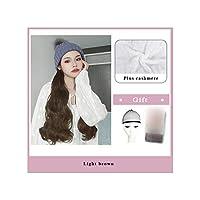 ナチュラル接続髪合成のBlack Hatカーリーヘアストレートヘアウィッグ弾性ニット帽子ウィッグ耐熱女性、2I301,22Inches