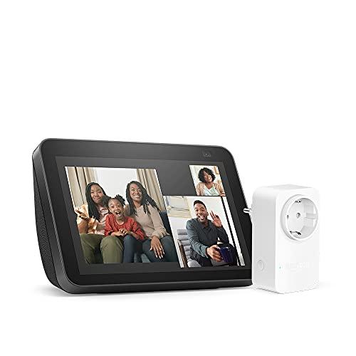 Nuevo Echo Show 8 (2.ª generación, modelo de 2021), Antracita + Amazon Smart Plug (enchufe inteligente WiFi), compatible con Alexa