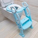 Toddler Toilet Training Seat with Soft Pads– Adjustable Stair Potty Seat with Sturdy...