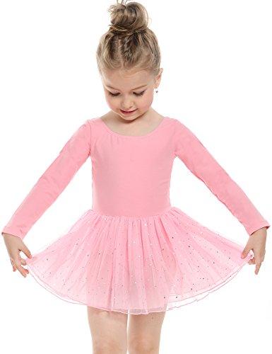 Bricnat Mädchen Ballettkleidung Rosa Ballettkleid Tanzbody Gymnastikanzug Balletttrikot Langarm Tanzkleid mit Tütü Kinder Baumwolle