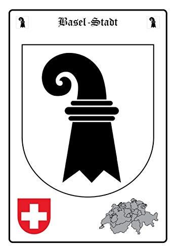Blechschild 20x30cm gewölbt Basel-Stadt Wappen Deko Geschenk Schild