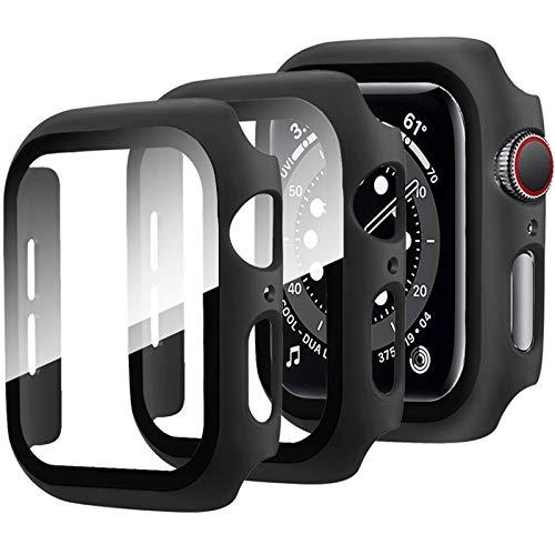 Miimall [2 Stück Kompatibel mit Apple Watch Series 6/SE/5/4 Schutzfolie, iWatch 44mm Schutzhülle, Superdünne PC Hülle mit Panzerglas Bildschirmschutz All Aro& Hülle für Apple Watch 44mm