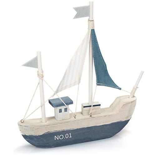 com-four® Barco de decoración marítima - Barco de Madera con Velas de Lona - Decoración de baño náutico [la selección de Colores varía] (01 Pieza - Barco de Madera 28cm)