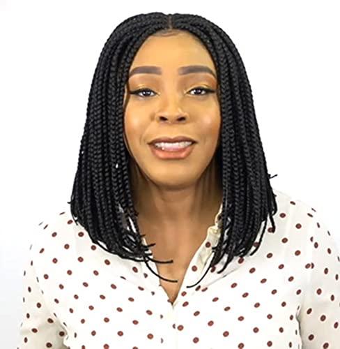 trenzas trenzadas micro crochet fibra,Pelucas trenzadas negras,sin encaje, peluca frontal color negro natural para mujeres afro, uso diario