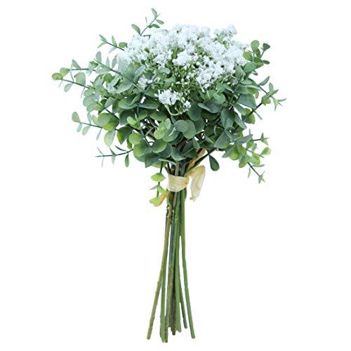 Gooddays Flores artificiales para decoración de boda, 6 flores de respiración de bebé y 6 flores de eucalipto de plata...