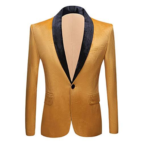 PYJTRL Mens Fashion Velvet Suit Jacket Slim Fit Blazers (Yellow, 42)
