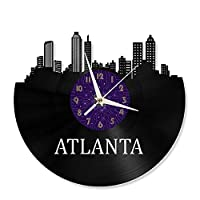 アトランタ市ビニールレコード壁時計アトランタスカイライン壁時計リビングルーム壁掛け装飾ギフト友達のための10代の少年と少女,紫色,No LED