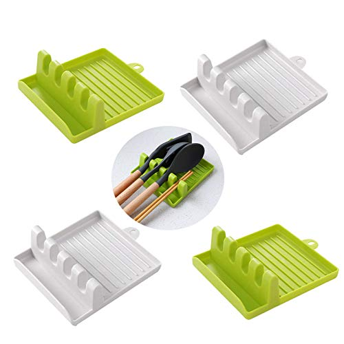 SoundZero 4pcs Porta Cucharas Cocina, soporte de Utensilios de cocina multifunción, con Goteo Pad para Utensilios Varios,Resistente al Calor, Cuchara Descanso y la Cuchara Titular de Tapa de la Estufa