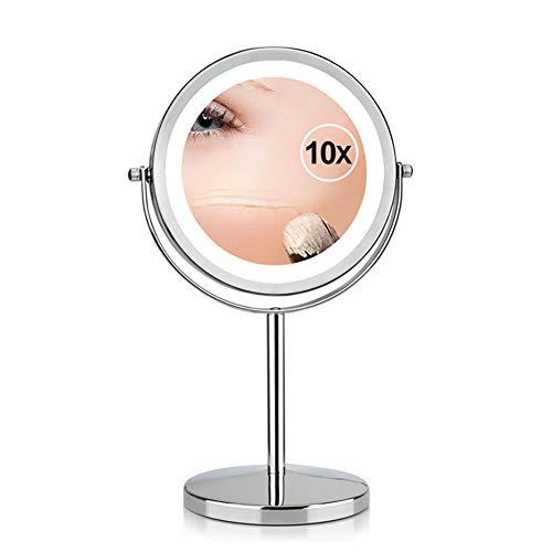 Miroir Cosmétique Lumière LED - Miroir à Pied 2 Faces Normal/Grossissant x10 - Miroir Rond Lumineux pour Maquillage Rasage - Approprié Au Maquillage De Chambre à Coucher, Transportant Des Voyages