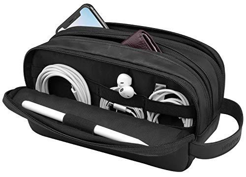 WIWU Reise-Elektronik-Organizer-Tasche mit drei Schichten, wasserdichte Kabel-Organizer-Zubehör-Tasche für Apple Bleistift, Festplatten, Kabel, Ladegerät, Telefon, USB, SD-Karte (schwarz)