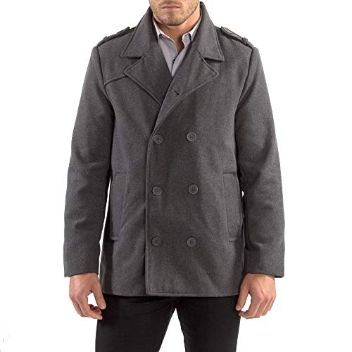 Alpine Swiss Jake Mens Wool Pea Coat Double Breasted Jacket Gray Med