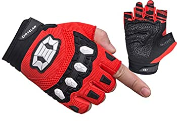 Seibertron Dirtclaw Youth BMX MX ATV MTB Road Racing Mountain Bike Bicycle Cycling Off-Road/Dirt Bike Gel Padded Anti - Slip Palm Fingerless Gloves Motorcycle Motocross Sports Gloves Red S