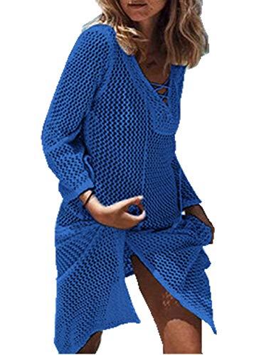 PANAX Damen Gestrickte Sommer Urlaub Poncho Baumwolle Strandkleid - Häkeln Tunika Biniki Cover up Style2 Marineblau