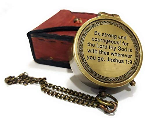 Be Strong Courageous Engraved Compass Directional Magnetic Pocket Personalized Gift for Camping, Hiking and Touring