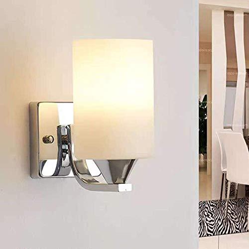 XXLYY Lámpara de Aplique de Pared Interior de Vidrio de una Sola Cabeza Bombilla LED para el Dormitorio de la Sala de Estar sin Interruptor