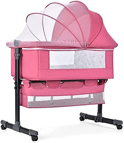 ZGYZ Cuna para Dormir Junto a la Cama de bebé,Cuna de Viaje con Ventanas de Malla y colchón Agitador portátil móvil para recién Nacidos,Cama de bebé,Rosa