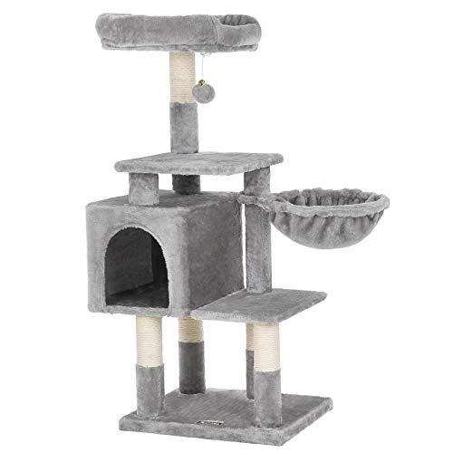 FEANDREA Albero per Gatti Multilivello, Tiragraffi 100 cm, Grigio Chiaro PCT52W