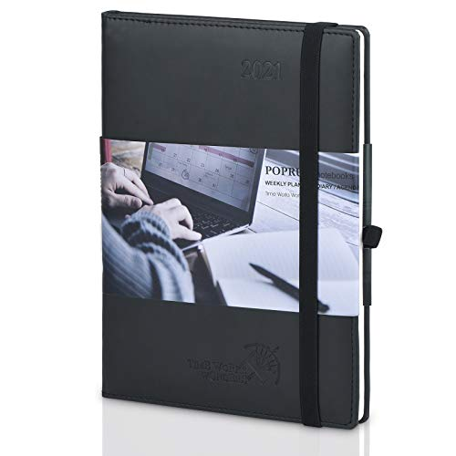2021 Planner Weekly & Monthly Calendar Hourly Appointment Book - Vegan Leather Hard Cover Agenda 2021 with Pocket, Pen Holder, Note & Address Pages, 6.5' x 8.5', Black