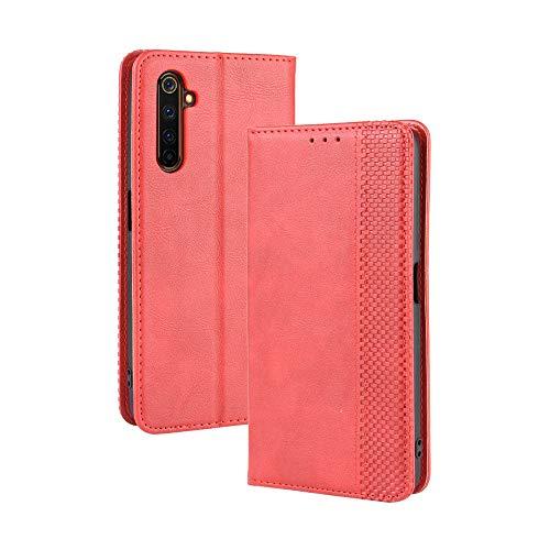 LAGUI Kompatible für Realme X50 Pro 5G Hülle, Leder Flip Hülle Schutzhülle für Handy mit Kartenfach Stand & Magnet Funktion als Brieftasche, rot