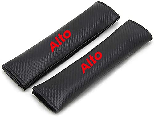 2 almohadillas de hombro para cinturón de seguridad de coche adecuadas para Alto, cojín protector de cinturón de seguridad de fibra de carbono con emblema