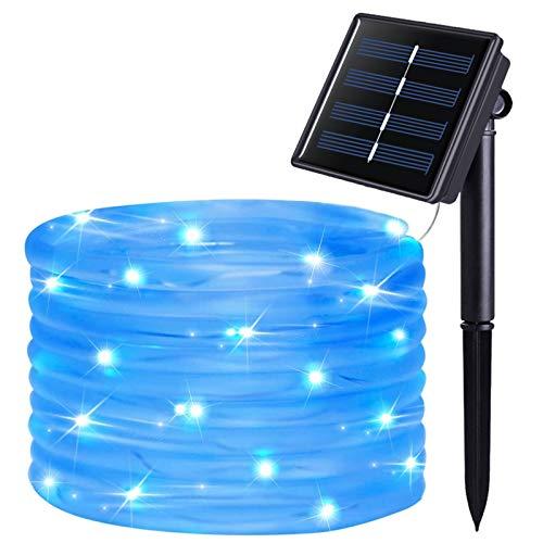 JMEXSUSS 120 LED Solar Rope Lights,39.4ft 8 Modes Solar Rope Lights Outdoor Waterproof,Outdoor Solar Rope Tube for Garden,Fence,Patio,Pool,Deck(Blue)