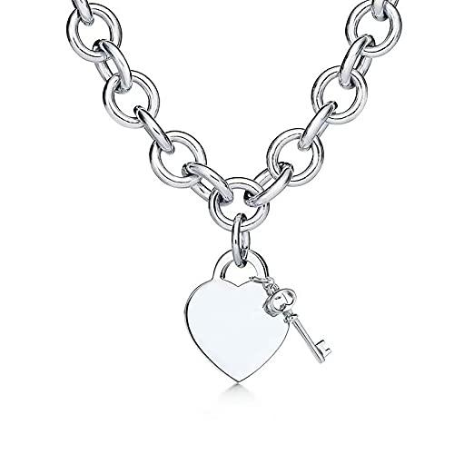 Overvloedi Collar de plata de ley 925 señoras 925 joyería collar de plata original marca collar pareja regalo hombres ChainLadies collar silverkey