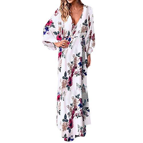 TUDUZ Robes de Jupe Longue Casual Robe,Robe à Manches Chauve-Souris à Manches Longues et à Manches Robe de Plage Jupe de Vacances(Blanc,EU-40/CN-XL)