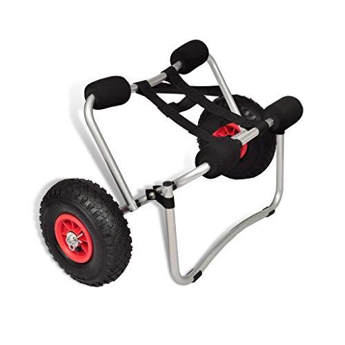 SOULONG Remolque de Kayak,neumático de PU, Mango de Espuma, Material de Aluminio, portátil Compacto, fácil de Montar, Resistente Estable, Resistente al Desgaste, para bajío de Playa