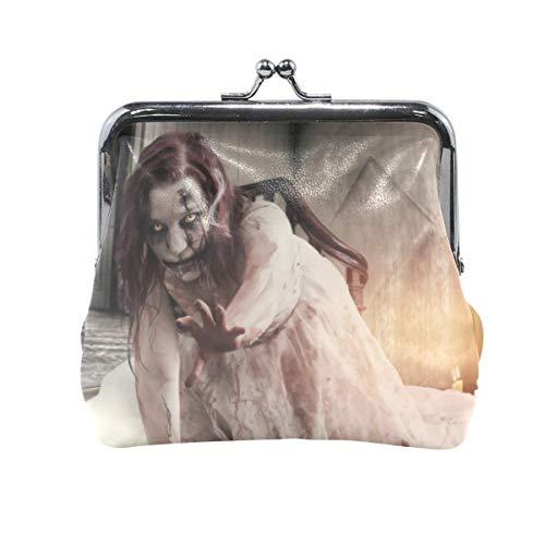 Münzgeldbörse Kartenpaket Münzleder für Frauen Druck Halloween Series Zombie Girl