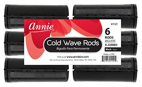 Annie Jumbo Cold Wave Rods with Rubber Band for Hair Curling and Perm Styling - Black - Set of 3 Packs of 6 (18 Pieces)
