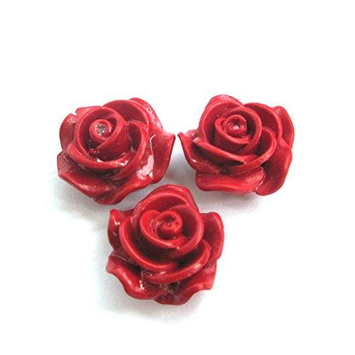 Ovalbuy 3PIECES imitazione corallo rosso perline rosa Finding 20mm * 12mm