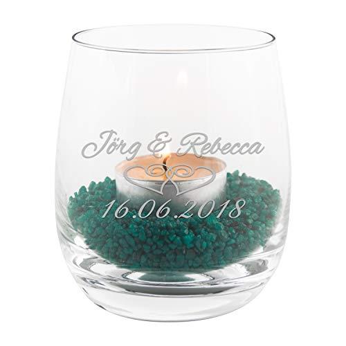 Geschenke 24 Teelicht zur Hochzeit mit persönlicher Gravur (Klar, Herzen) – buntes Glas Windlicht personalisiert mit Namen und Datum – persönliche Hochzeitsgeschenke für Brautpaar